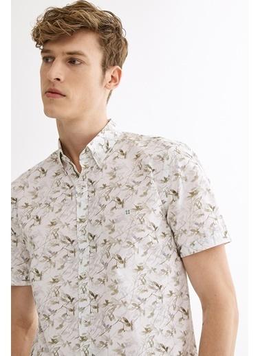 Avva Erkek  Baskılı Düğmeli Yaka Gömlek A01Y2085 Haki